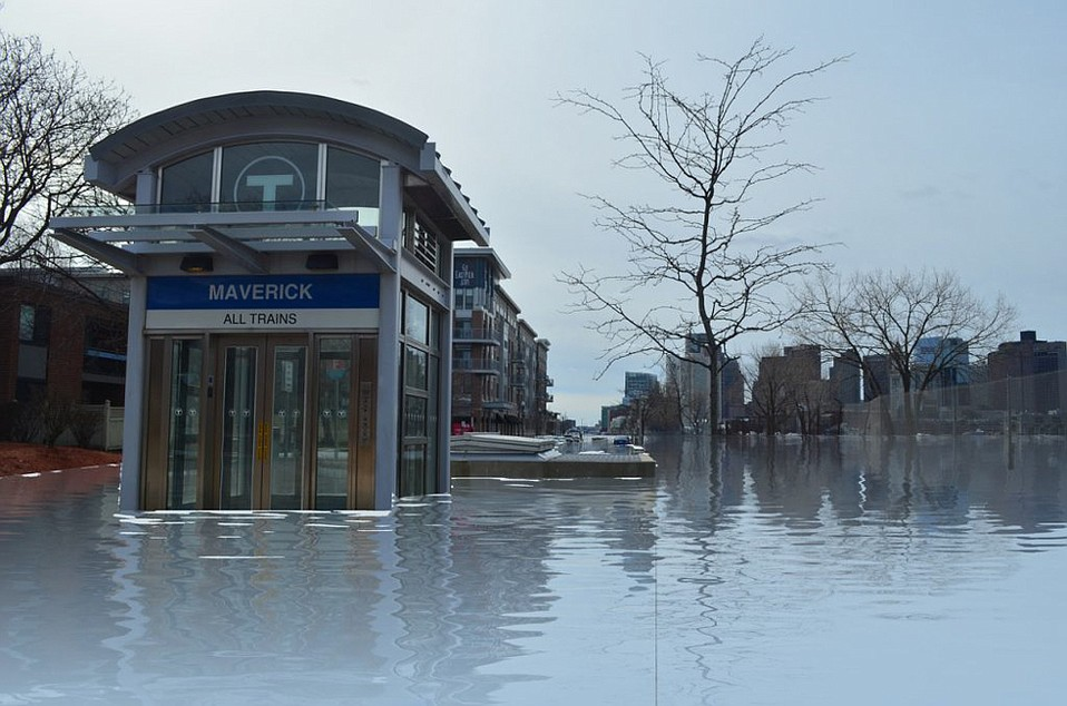 Augmented reality is a powerful visual tool that instantly communicates the dangers of climate change to the public, argues Dr. Garry Hare. This image shows a simulation of East Boston swallowed by sea-level rise.