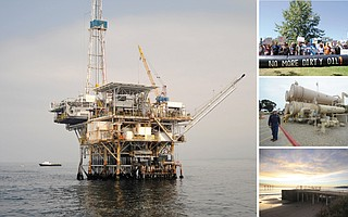 Platform Holly (left) is one of seven offshore oil rigs to be shut down, a decommissioning urged by protesters (top) hoping to close Venoco's Ellwood facility (middle) and piers (bottom) in Goleta.