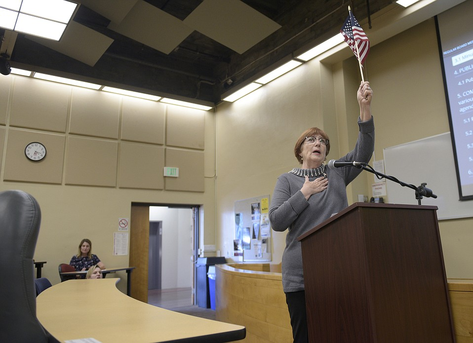 Celeste Barber soloed on the Pledge of Allegiance at the January 24 board meeting for Santa Barbara City College, igniting support from national conservative media.