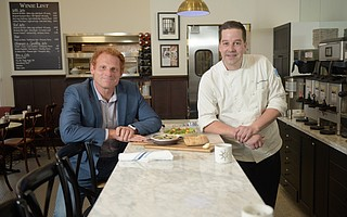 Owner Renaud Gonthier and Chef Owen Hanavan at Renaud's Patisserie on Coast Village Road