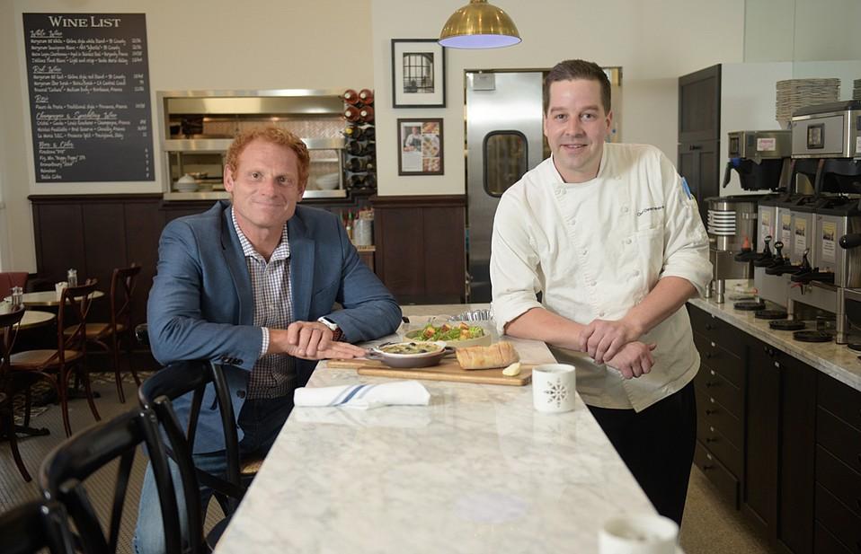 Owner Renaud Gonthier and Chef Owen Hanavan at Renaud's Patisserie on Coast Village Road