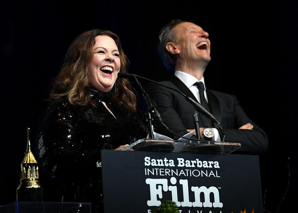 Melissa McCarthy and Richard E. Grant speak onstage at the Santa Barbara International Film Festival