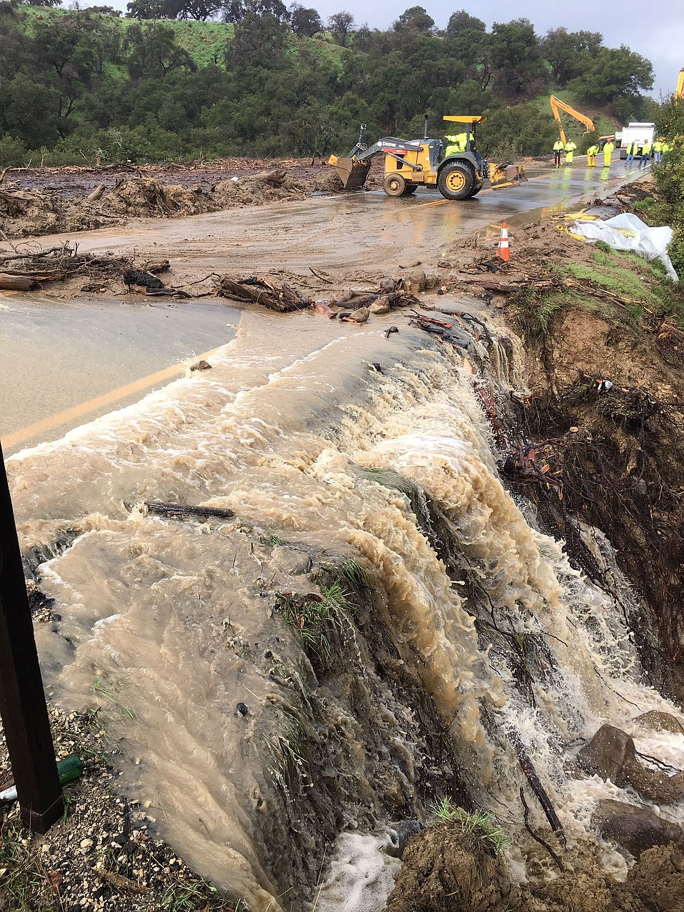 Water continues to pour out of the mountains near Lake Cachuma, closing the 154 after a culvert became blocked.