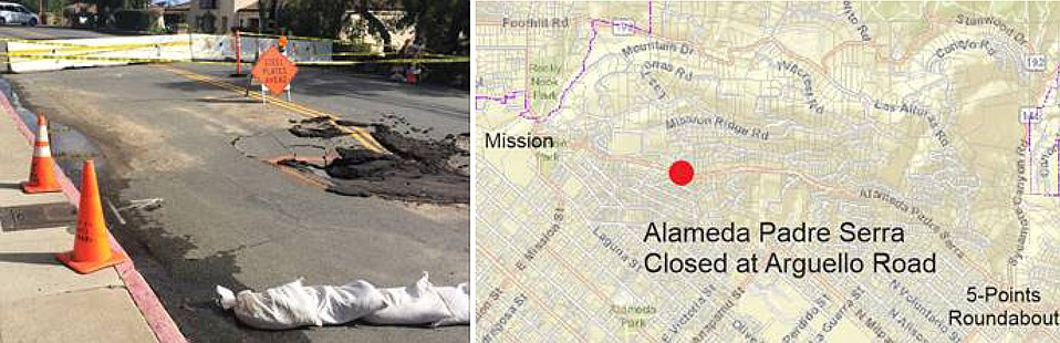 A sinkhole from Saturday's heavy rains will close Alameda Padre Serra for at least two weeks.
