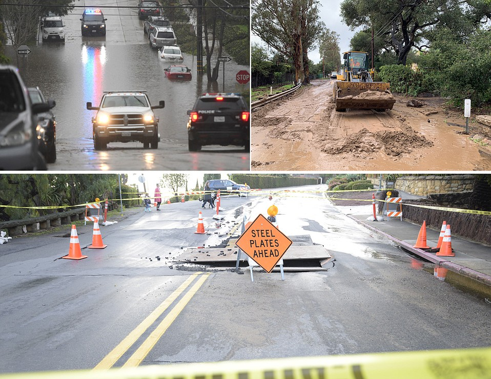A series of storms flooded roadways, opened a sinkhole, filled Montecito debris basins, and closed North Jameson Lane and Highway 101 in both directions.
