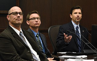 Rob Dayton (far right) addresses the City Council.