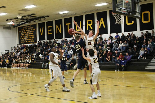 Baylor Huyck drives into a swarm of Ventura defenders. Huyck finished with a game-high 17 points.