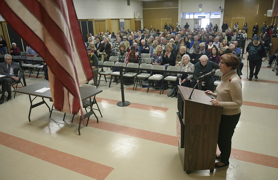 Celeste Barber, who requested the return of the Pledge of Allegiance to Santa Barbara City College Board of Trustees meetings, spoke at the Valentine's Day meeting, moved to the Wake Center for space reasons, wherein the pledge was reinstated amid high emotions.