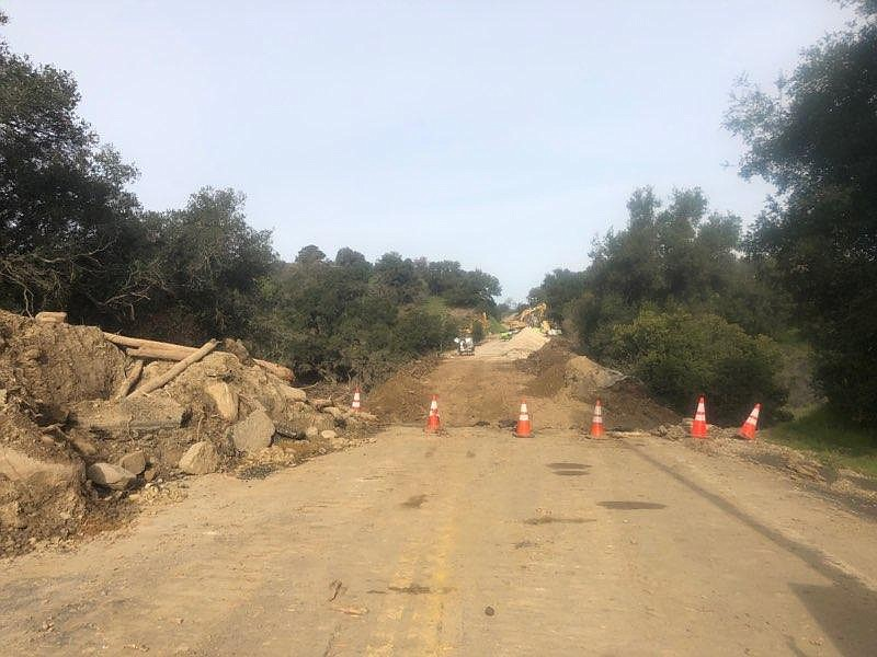State Route 154 will remain blocked at Lake Cachuma through mid-March, Caltrans estimates.