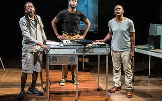 """From left, Philip Moore, Eric Berryman and Jasper McGruder in """"The B-Side: Negro Folklore from Texas State Prisons"""""""