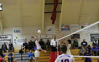 Brennan Ware goes up for the spike.