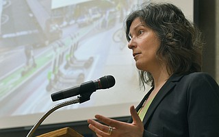 Francie Stefan, mobility czar for the City of Santa Monica, spoke at a SBCAG-hosted Scooter Summit in the Faulkner Gallery