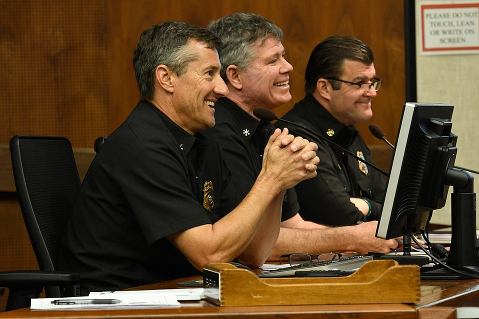 County Supervisors approved an eastern Goleta wildfire protection plan after a presentation from (from left) S.B. County Deputy Fire Marshal Rob Hazard, Division Chief Steve Oaks, and Fire Chief Mark A. Hartwig.