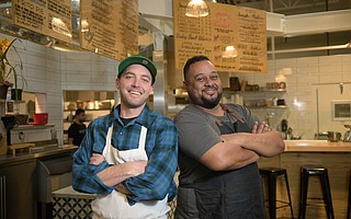 Justin West (left) and Jason Carter are now serving brisket, burgers, and other smoky treats at Soul Cal Barbecue in the S.B. Public Market.