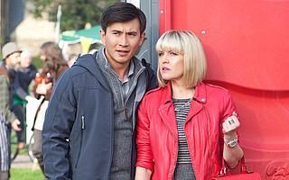 Bill Wong (Matt McCooey) and Agatha Raisin (Ashley Jensen) spend their days solving murders with flair in the British mystery series Agatha Raisin.