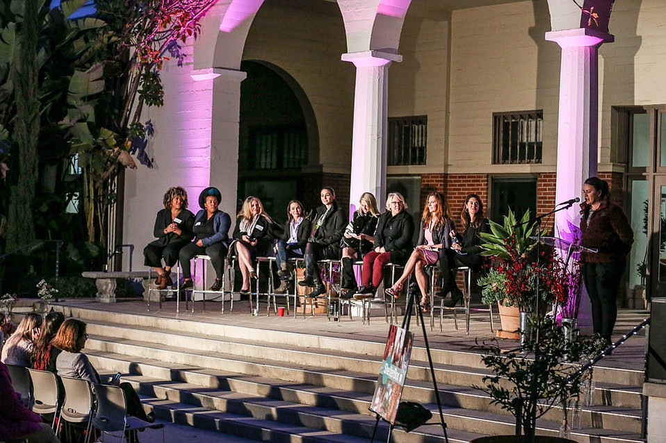 Panelists (left to right) Ashe Kelly-Brown, Christin Brown, Diana Pereira, Michelle Greer, Lena Requist, Jennifer Somer, Mary Kennett, Leslie Zemeckis, Kerri Murray and Stephanie Cuevas (speaking).