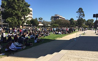 Several hundred people gathered at UCSB to mourn the people killed in a terror attack on a New Zealand mosque.